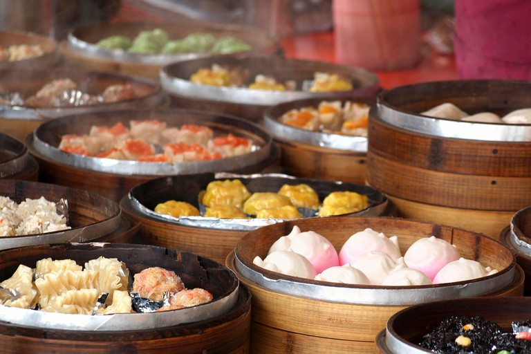 Cantonese Dim Sum dishes in bamboo steamers