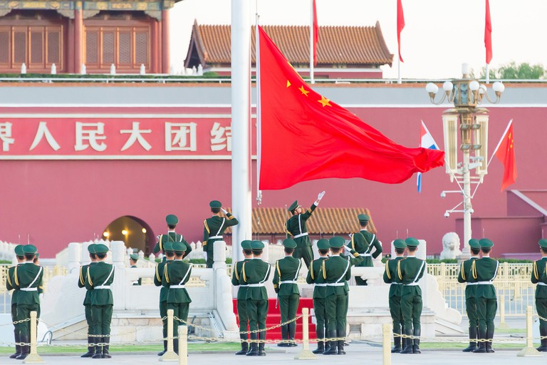 Flag raising ceremony, Tiananmen square, Beijing