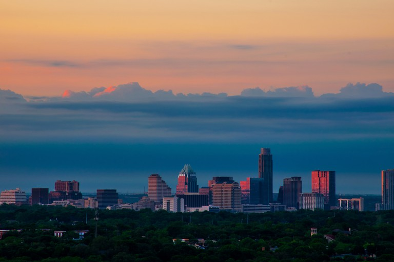 View of Austin Texas From Mount Bonnell at sunrise