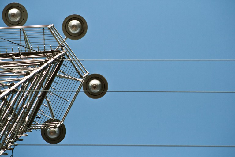 A photo of a moon tower which is used to light Zilker park in Austin, Texas, USA.