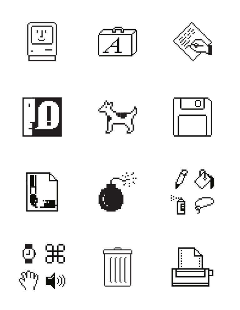 Susan Kare Macintosh vector icons (onetime use only)