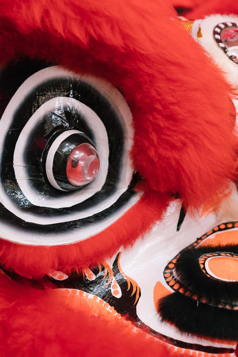 A close-up view of a lion-dancing costume shows the attention to detail