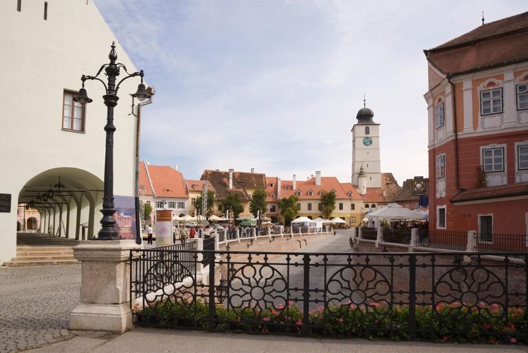 Piata Mica square, Sibiu, Romania