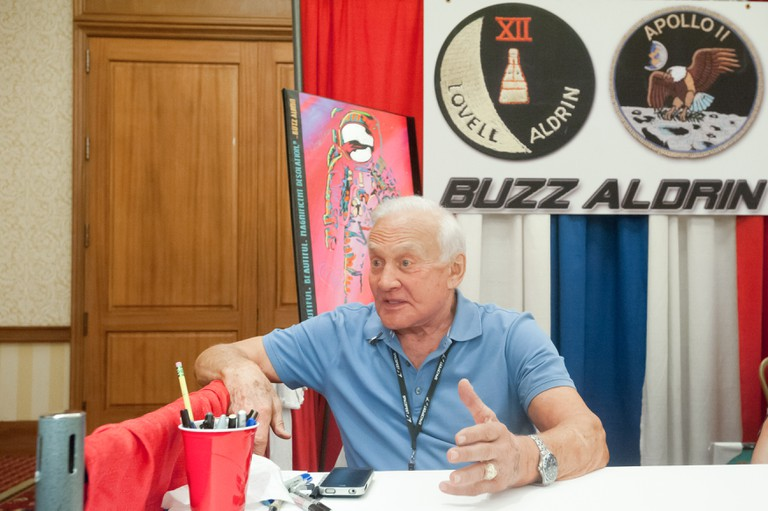 BUZZ ALDRIN, Apollo 11 astronaut and second man on the Moon, speaks to a TV reporter at Spacefest IV in Tucson, Arizona