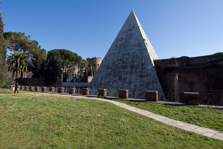 Caius Cestius's Pyramid seen from Non-Catholic Cemetery, Rome, Latium, Italy.