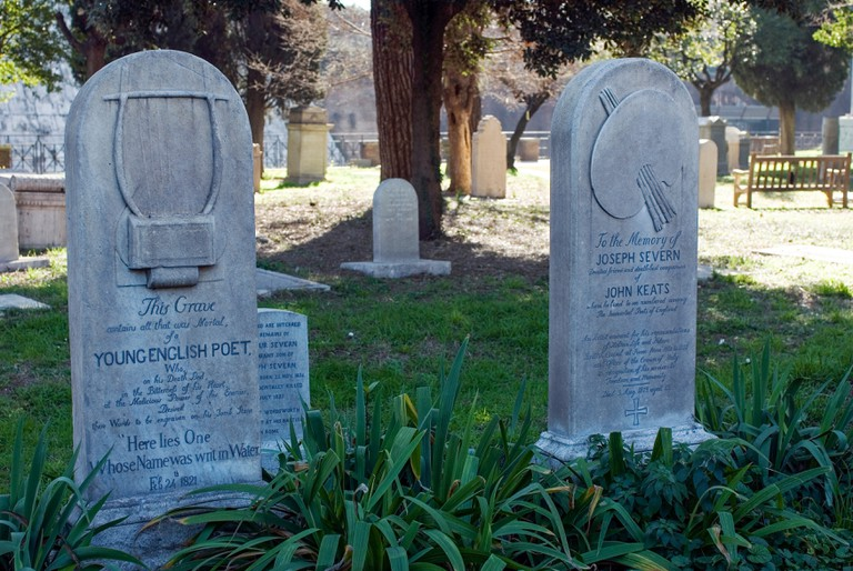 Graves of John Keats and Joseph Severn in the Non-Catholic Cemetery, Rome, Latium, Italy.
