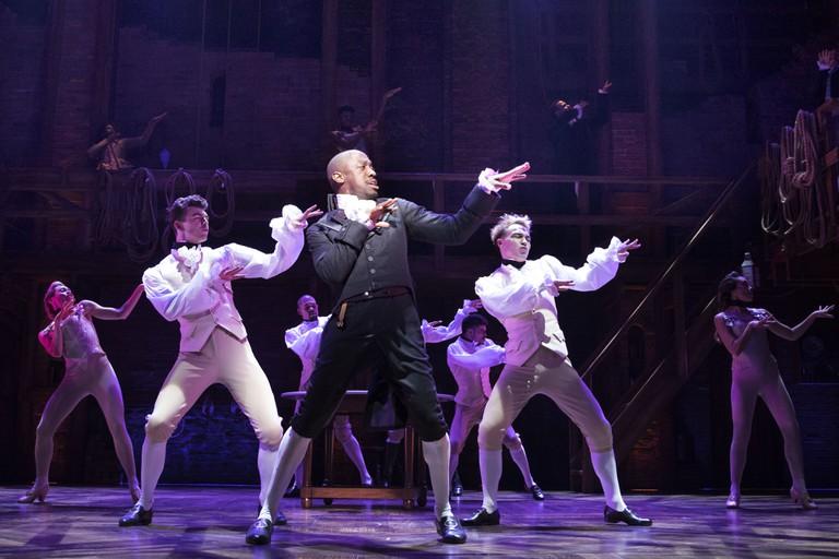 Giles Terera as Aaron Burr in Hamilton