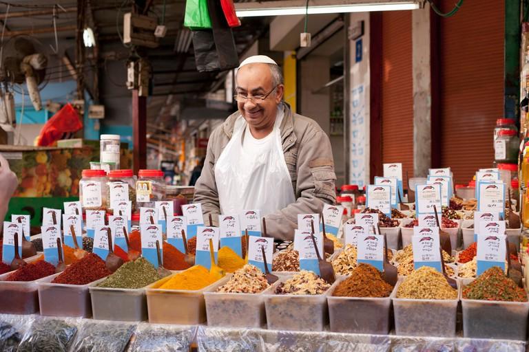 Israel, Tel Aviv,Carmel Market, spice vendor