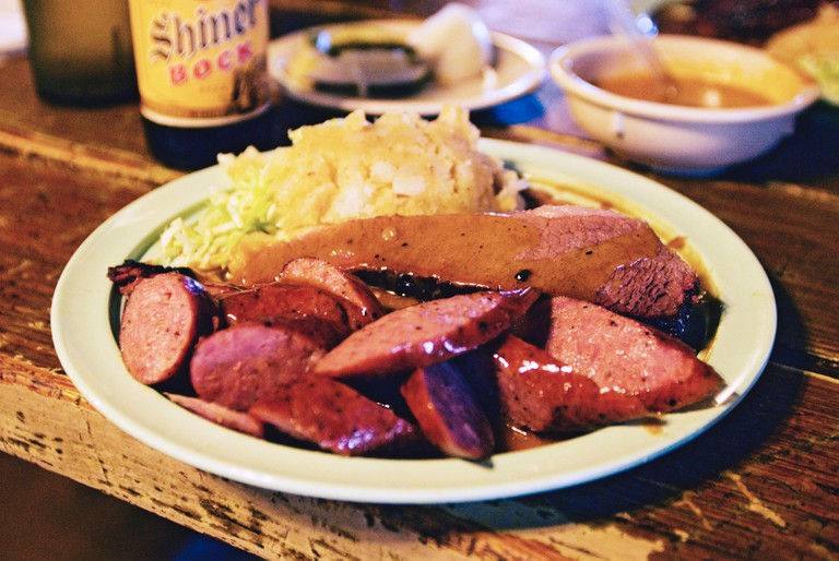 A meal at Salt Lick BBQ, Texas