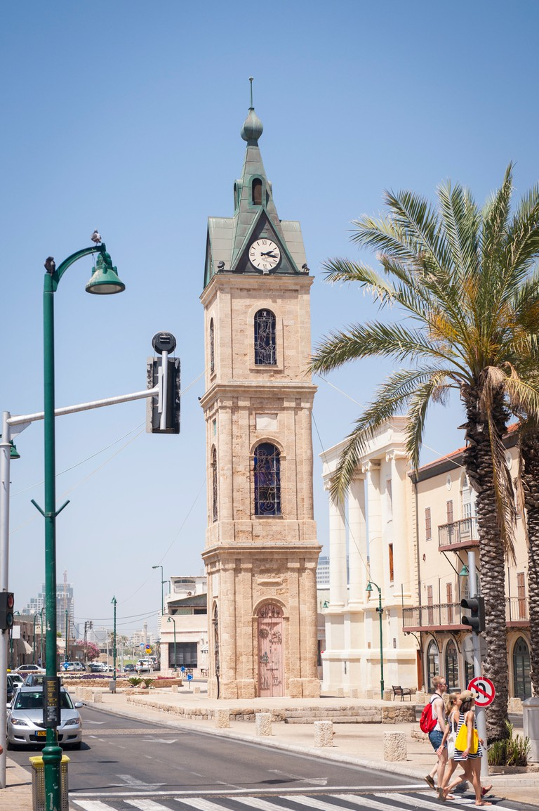 Israel Tel Aviv Jaffa Yafo Yefet Street iconic landmark limestone  Clock Tower built 1903 for 25th anniversary of Ottoman Sultan Abd al-Hamid II