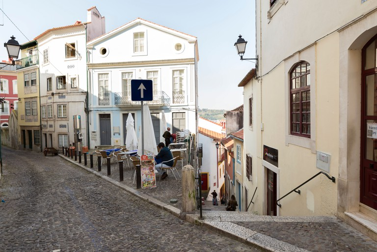 Narrow street in Old Town, Coimbra, Portugal