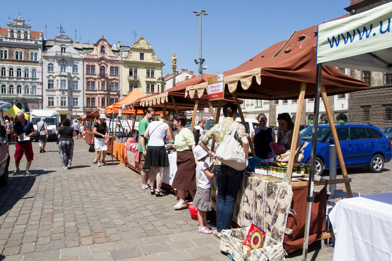 Market in Republic Square, Pilsen, Czech Republic