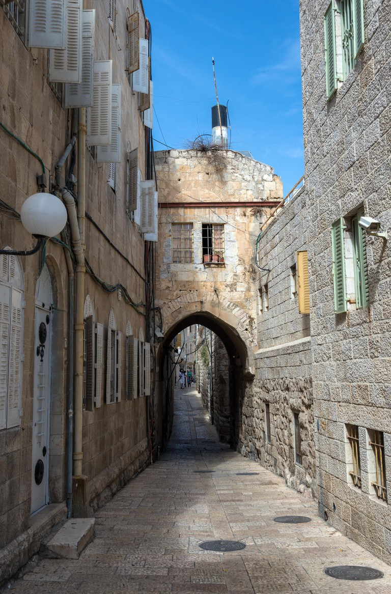 Small alleyway in Jewish Quarter, Old City of Jerusalem, Israel.