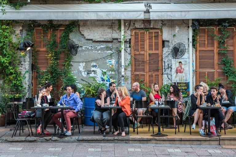 Restaurant at Rothschild Boulevard in Tel Aviv city, Israel