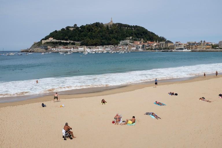 La Concha Beach at San Sebastian, Spain