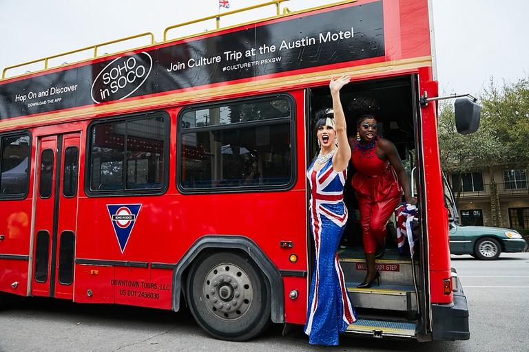 Bob the Drag Queen and Manila Luzon arrive at the Austin Motel to host Culture Trip's Drag Bingo. Austin, Texas, USA.