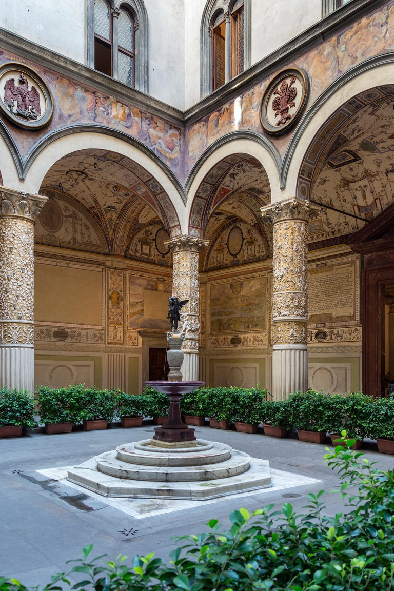 Interior courtyard in the Palazzo Vecchio (Old Palace) is the town hall of the city of Florence, Italy.