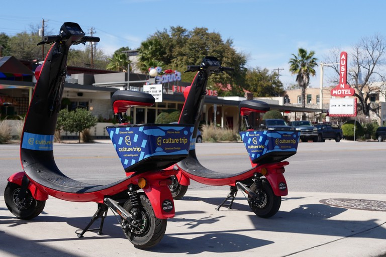 Culture Trip scooters spotted during the week leading up to SxSW 2019 in Austin, Texas, USA.