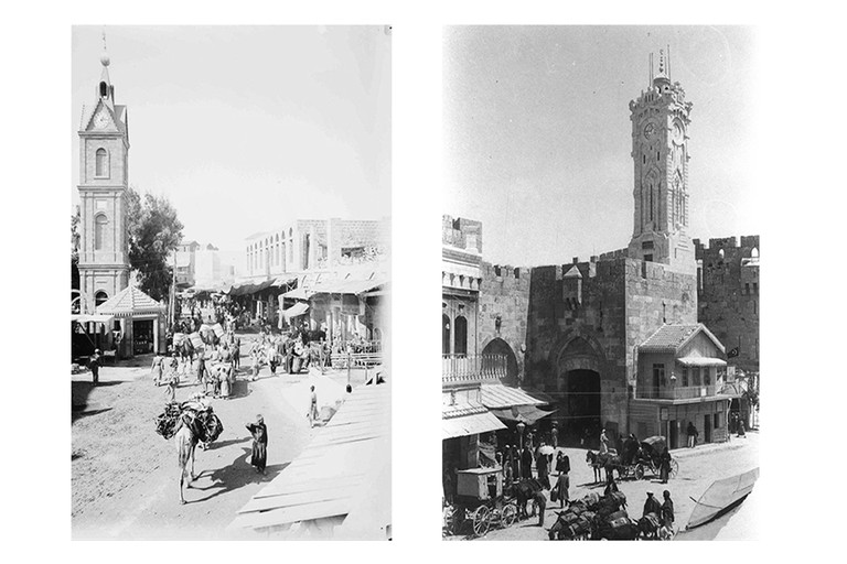 Left: Street scene in Jaffa near the clock tower, 1901. Right: Jaffa Gate with Jerusalem Clock Tower, located above Turkish Customs Office