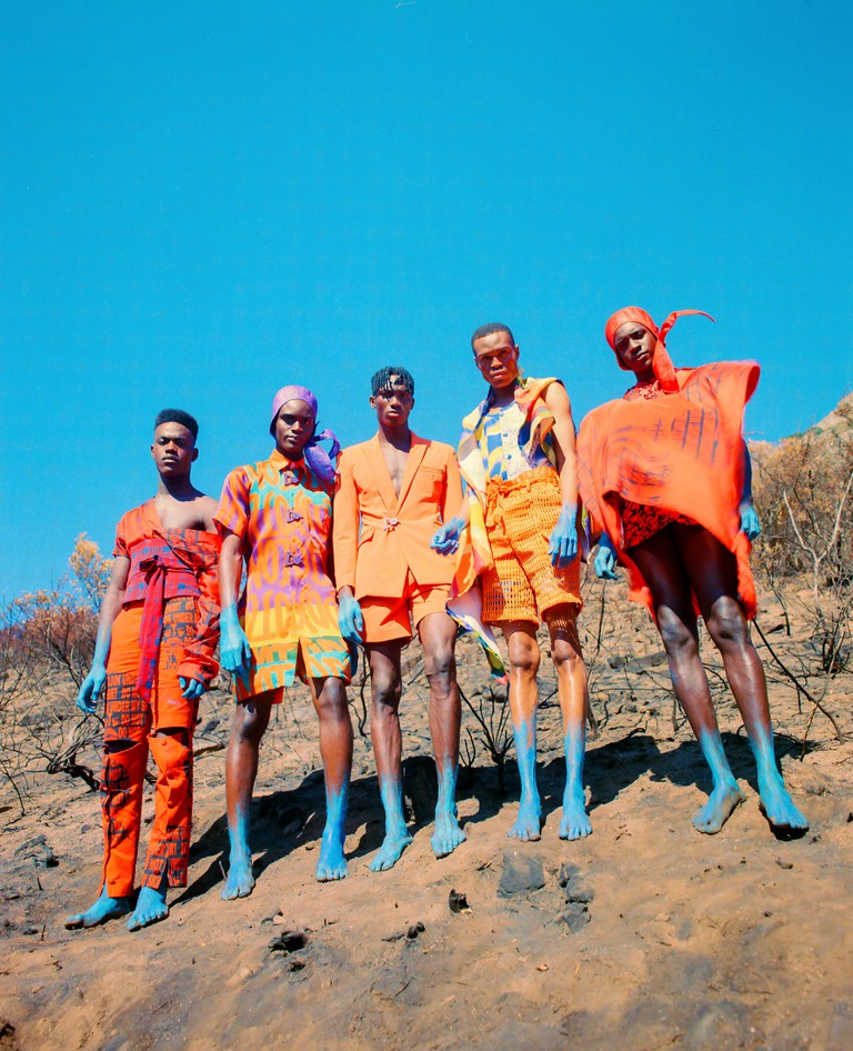 "Adebayo Oke-Lawal's AW19 collection ""Orange Culture"" © Jesse Navarre Vos"
