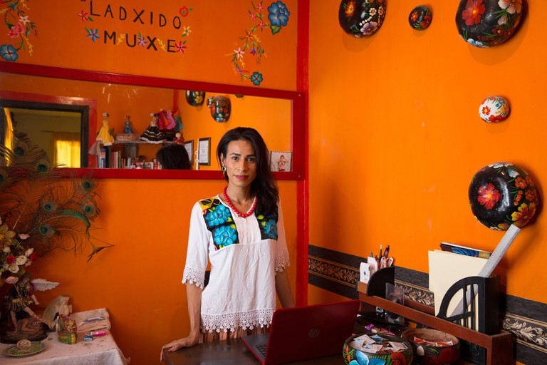 Naomy Méndez Romero at the office of her organization Ladxido Muxe in Juchitán de Zaragoza, Mexico
