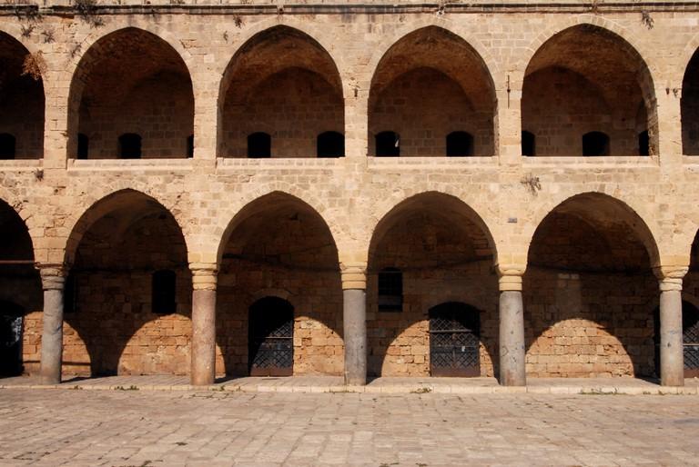 Ottoman landmark building, Han El-Umdan in Acre Akko
