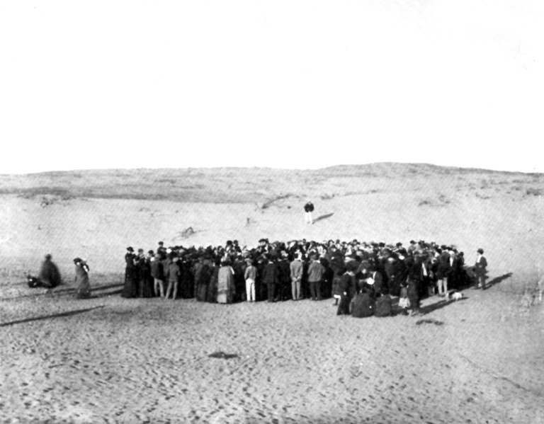 Allocation of plots to the residents on the sand dunes of Tel Aviv. Tel Aviv was founded by the Jewish community on the outskirts of the ancient port city of Jaffa, 1909