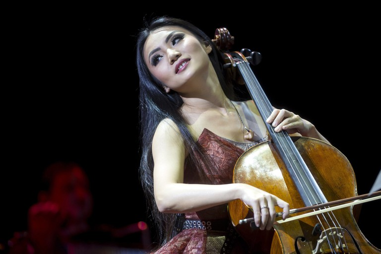 Mandatory Credit: Photo by Balazs Mohai/EPA/REX/Shutterstock (8389297f) Chinese Cellist Tina Guo Performs During a Concert of the 'Vivaldianno - City of Mirrors World Tour' at the Papp Laszlo Budapest Sports Arena in Budapest Hungary 13 November 2016 the Concert Featured Works of Antonio Vivaldi in a Performance of Baroque Music Combined with a Modern Sound Hungary Budapest Hungary Music - Nov 2016 Chinese cellist Tina Guo performs during a concert of the 'Vivaldianno - City of Mirrors World Tour' at the Papp Laszlo Budapest Sports Arena, in Budapest, Hungary, 13 November 2016. The concert featured works of Antonio Vivaldi in a performance of Baroque music combined with a modern sound.