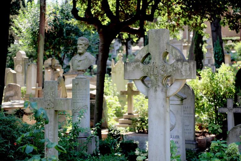 The Cimitero Acattolico, Non-Catholic Cemetery of Rome, Cimitero dei protestanti, Protestant Cemetery, or Cimitero degli Ingles, Englishmen's Cemetery.