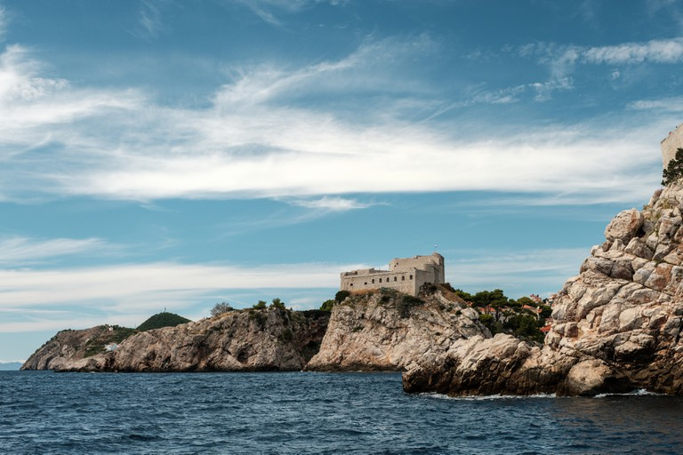 View of Fort Lovrijenac from the sea on a sunny summer's day where Game of Thrones was shot, in Dubrovnik, Croatia.