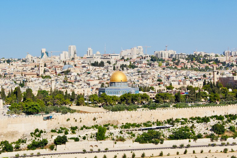 The sun shines down on Jerusalem, Israel