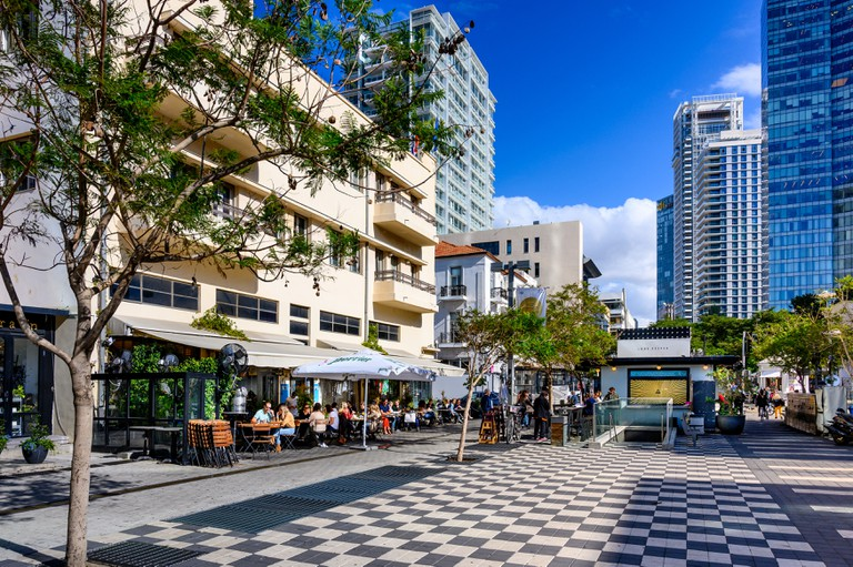Cityscape of boulevard Rothschild and Alenby street in Tel Aviv, Israe