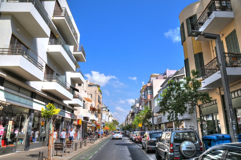 Shenkin street, one of the most popular street for shopping and traveling in Tel aviv. The street has boutique and fancy shops. Aug 25, 2015 in Tel Aviv, Israel