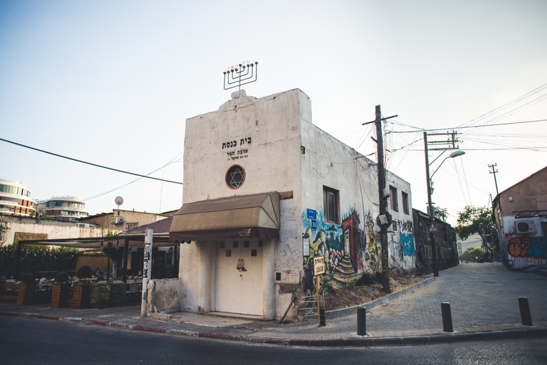 Old urban synagogue with graffiti on it in Florentin district of Tel Aviv, Israel.