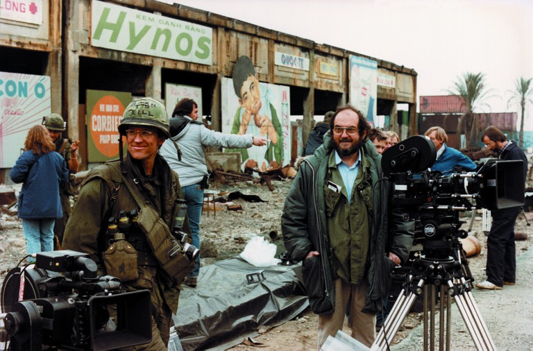 Matthew Modine and Stanley Kubrick on the set of 'Full Metal Jacket'