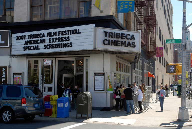 Film lovers outside the Tribeca Cinemas during the Tribeca Film Festival