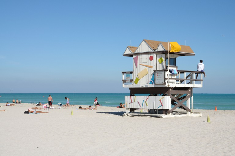 Art Deco Lifeguard Tower at Miami South Beach, Florida.
