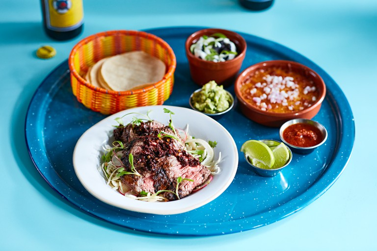 Chargrilled bavette steak taco board
