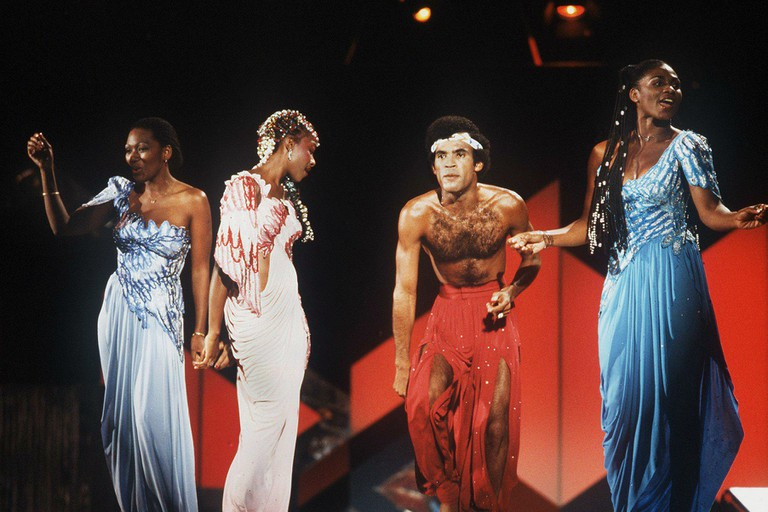 The pop group Boney M. during a performance in Berlin in September 1981.