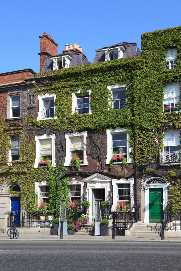 Traditional Georgian houses at Saint Stephen's Green in Dublin, Ireland