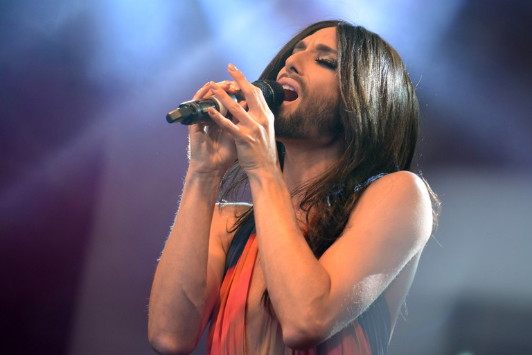 London, UK. 28th June, 2014.  Eurovision Song Contest winner Conchita Wurst appeared on the main stage at Pride London 2014 and from the sound of the cheers was the most popular act of the day. Crowds stood the whole day, often in the rain, waiting for Co
