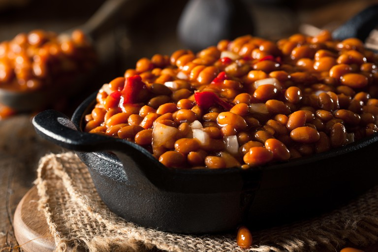 Homemade Barbecue Baked Beans in a Black Skillet