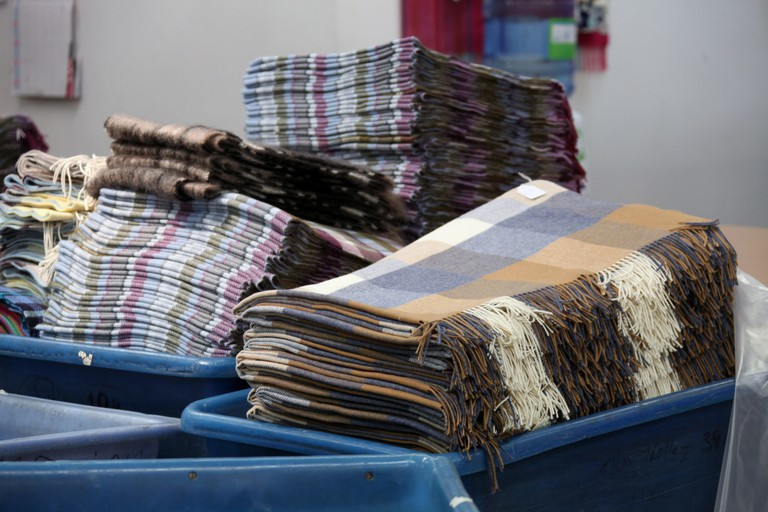 Finished woollen throws at the Avoca Handweavers Mill, Dublin