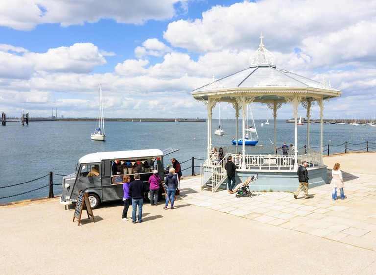 Food van and bandstand on the Dun Laoghaire Harbour Pier East, Dun Laoghaire, Dun Laoghaire?Rathdown, Ireland. Image shot 2015. Exact date unknown.