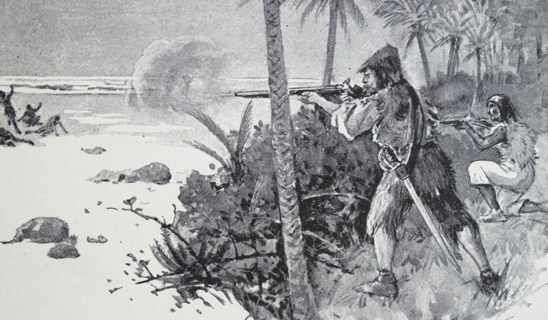 Illustration from a nineteenth century edition of 'Robinson Crusoe' a novel by Daniel Defoe