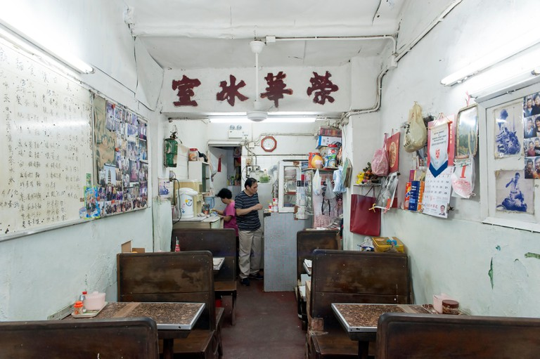 A Hong Kong local style old restaurant cha chaan teng meaning tea restaurant.