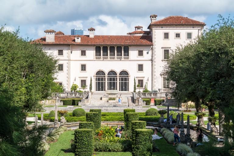 Villa Vizcaya north facade from museum gardens in Coconut Grove in Miami, Florida, USA
