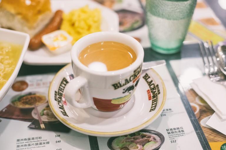 Drink at a cha chaan teng in Hong Kong.