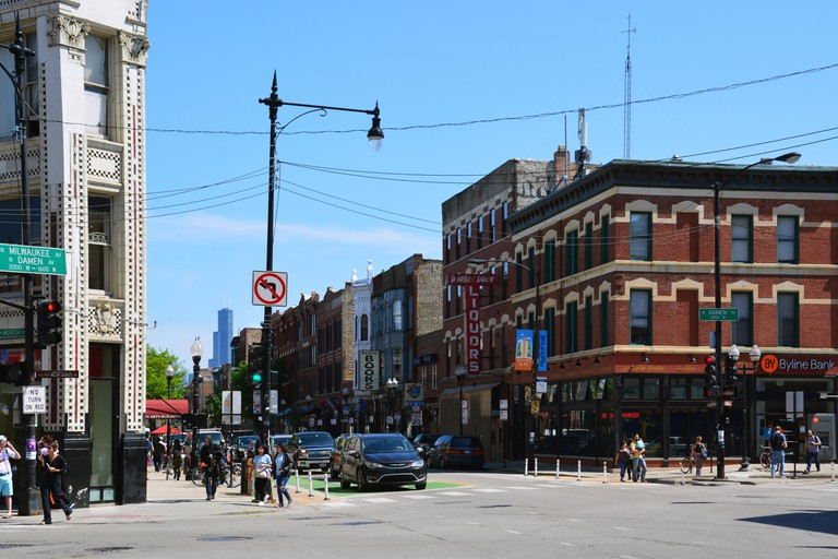 The busy 6-corner intersection of Damen/North/Milwaukee Avenues in Chicago's hipster Wicker Park neighborhood