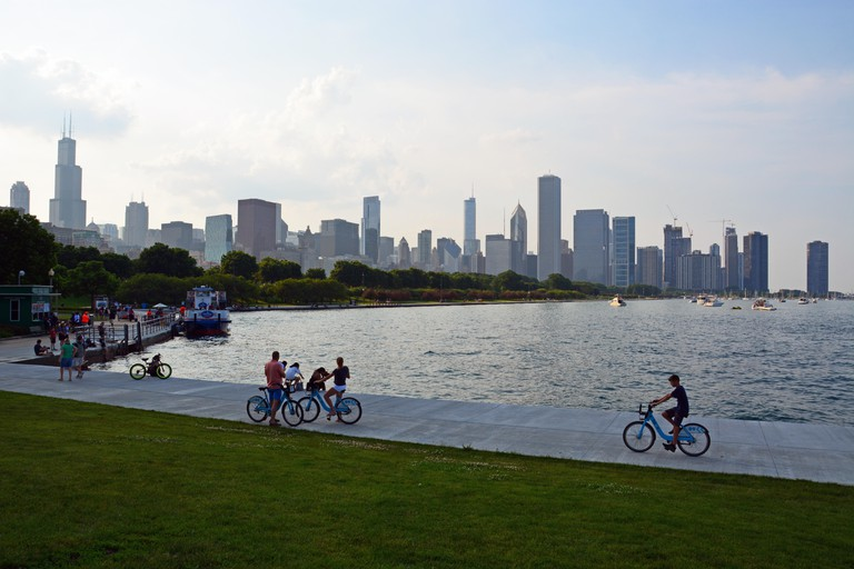 Cycling along the lakefront in Chicago